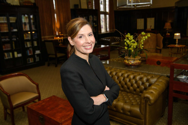 TU Law alumna Amber Plumlee in the McFarlin Library Faculty Study