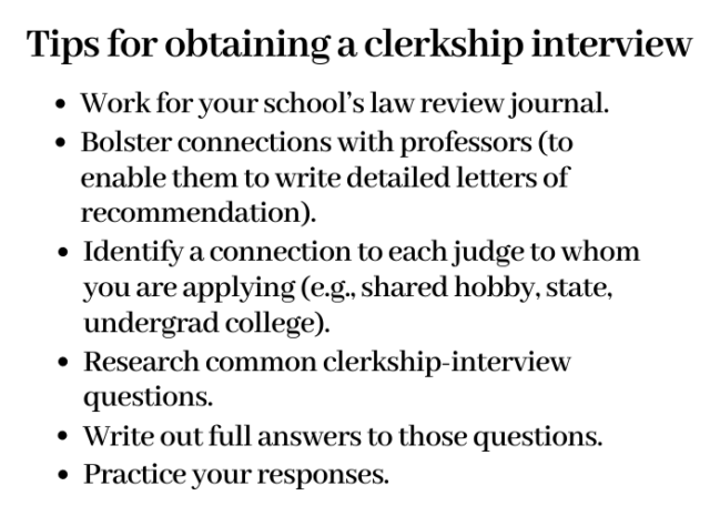 Alexandra Fleming's six tips for obtaining a clerkship interview